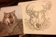 The wolf and the stag by WolfSkullJack