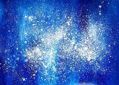 Blue Stellar Sky No.1. - Universe Art, Fluorescent Original Acrylic Painting