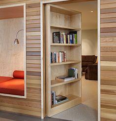 modern home | wood paneling | built in nook | reading room | Hidden Room | Interior Design