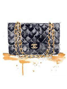 Chanel sac à main Fashion Illustration aquarelle par KelseyMDesigns