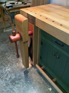 Shaker Style Workbench, Lake Erie Toolworks, Leg Vise, Wagon Vise