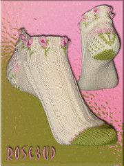 Knitting Patterns Mittens Ravelry: Rosebud Socken by Christine Kapica Knitted Mittens Pattern, Knit Mittens, Knitting Socks, Hand Knitting, Knitting Patterns, Knit Socks, Lots Of Socks, Stockings Legs, Patterned Socks