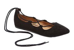 Charles Albert Ghille Lace Up Pointy Toe Leg Tie Ballet Flat (8, Black Vegan Suede) >>> Click here for more details @