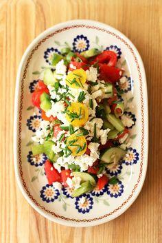 Shopska salad (Šopska salata). Annie made me this...Bulgarians love their feta.
