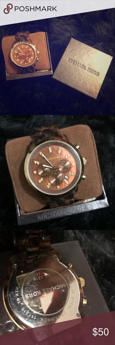 Michael Kors watch with leather box 📦 Michael Kors Chronograph Tortoise Watch. Stainless-steel case. Band is finished in brown for a rich relaxed look. Gold-toned bezel, hour markers, function buttons, & hands. Crystal chips on the hour markers add shine. Tracks seconds, minutes, & 24-hour information. A date window sits at the 4 o'clock position. A durable mineral crystal, Japanese quartz movement, & water-resistance to 330 feet. Size S/M wrists (no extra spacers). Will replace with new…