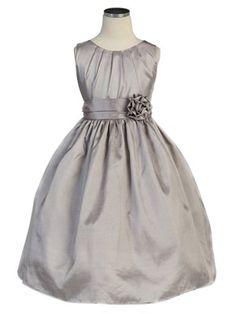 Silver Classic Pleated Taffeta Sleeveless Dress (Sizes Infants-12 in 5 Colors) - Flower Girl Dresses - GIRLS