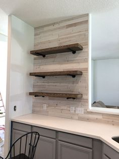 DIY Floating Pipe Shelves - Shanty 2 Chic diy home improvement DIY Floating Shelves Shanty 2 Chic, Cute Dorm Rooms, Cool Rooms, Home Improvement Projects, Home Projects, Diy Home Decor For Apartments, Diy Regal, Floating Shelves Diy, Wood And Pipe Shelves