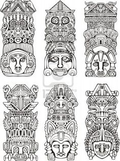 Abstract mesoamerican aztec totem poles. Set of black and white vector illustrations. Stock Photo - 16668797