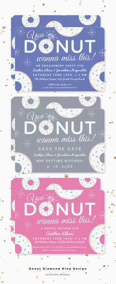 Yummy donuts! Love these - so funny! Fun, cute donut diamond ring design ideas. Invitations for donut themed bridal shower / engagement party / couples wedding shower / wedding save the date cards. Custom napkins with the donut design would be cute for wedding or party dessert bars - especially donut bars, of course! For each design, the background color is customizable by clicking Personalize / Customize.