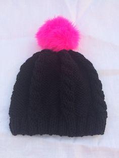 25%OFF Black knit cable hat Hot Pink Pom Pom by KnitSew4U on Etsy