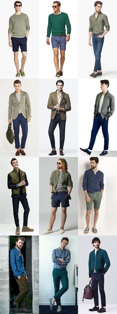Men's Summer Style: Blue and Green Colour Combinations Outfit Inspiration Lookbook
