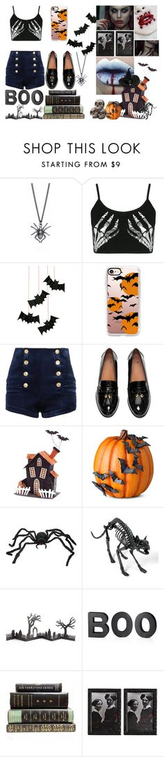"""""""Happy Halloween!"""" by jeesxx ❤ liked on Polyvore featuring Boohoo, Meri Meri, Casetify, Pierre Balmain, Melrose International, Improvements, Grandin Road and Crate and Barrel"""