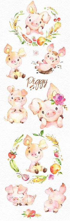 This Piggy watercolor set is just what you needed for the perfect invitations, craft projects, paper products, party decorations, printable, greetings cards, posters, stationery, scrapbooking, stickers, t-shirts, baby clothes, web designs and much more.  :::::: DETAILS ::::::  This #babyclothes
