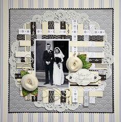 weaved background - wedding scrapbook layout