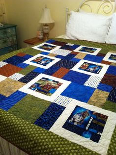 star wars quilt-- I like how they outlined the print in white!
