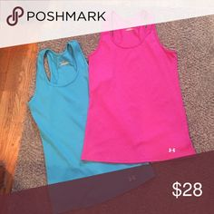 """Two Under Armour tank tops Two """"heat gear"""" racerback tanks! Both size large. In great condition! Under Armour Tops Tank Tops"""