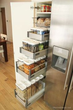 Family pantry organization even my 6 year old can maintain! We loved our new cab… Family pantry organization even my 6 year old can maintain! We loved our new cabinets with slide-out shelves but our pantry needed some help, so we went to our local Walmart Kitchen Organisation, Diy Kitchen Storage, Smart Kitchen, Home Decor Kitchen, Interior Design Kitchen, Home Organization, Awesome Kitchen, Organizing Ideas, Cheap Kitchen