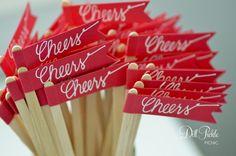 "#Wedding Red ""Cheers"" Drink Stirrers"