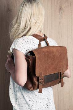 Brown retro satchel bag. student backpack for her, School bag, leather bag, gift, laptop bag, messenger bag for women, office briefcase. $350,00, via Etsy.