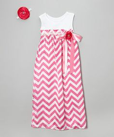 Another great find on #zulily! Hot Pink Zigzag Maxi Dress & Hair Clip - Infant, Toddler & Girls #zulilyfinds