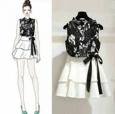 2019 New Summer Women Floral Print Hollow Out Shirt Top Bow Sashes Ruffles Solid Mini Skirt Suts Lady Fashion Casual Suit Source by reyadnigeria fashion casual shirts Girls Fashion Clothes, Teen Fashion Outfits, Cute Fashion, Asian Fashion, Look Fashion, Trendy Fashion, Girl Fashion, Fashion Models, Fashion Drawing Dresses