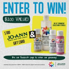 Enter thru 12/20/13 to WIN a $100 gift card to Jo-Ann Fabric and Craft Stores and a Delta Ceramcoat Paint & Stencil collection! Click thru and Like our Facebook page to enter! #contest #win #crafts #DIY #plaidcrafts @joann_stores