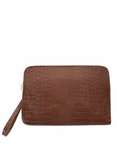 (OPCB05-BROWN) TheLEEs Mens Crocodile Pattern Zipper Faux Leather Clutch Bag
