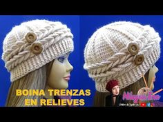 Boina con 2 trenzas en relieves y botones paso a paso para señoritas con lana delgada. Beret with 2 embossed braids and step by step buttons for ladies with . Crochet Stitches, Knit Crochet, Crochet Hats, Mad Hatter Hats, Crochet Tablecloth, Crochet Videos, Barbie Dress, Victorian Fashion, Hats For Women