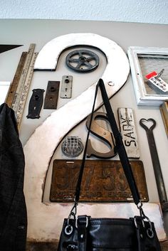 Big number two / Wall art with junk for coats - a unique entryway by FunkyJunkInterior...