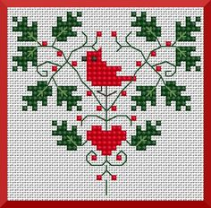 cardinal hearth cross stitch freebie from Kissy Cross
