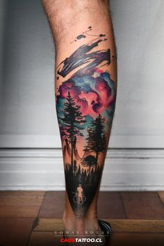 30 Eye-catching Watercolor Tattoo Ideas For Men Watercolor Tattoo Sleeve, Tree Sleeve Tattoo, Best Sleeve Tattoos, Sleeve Tattoos For Women, Tattoos For Guys, Bein Band Tattoos, Bike Tattoos, Leg Tattoos, Arm Tattoo