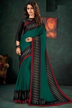Teal Green chiffon saree with black satin blouse. Embellished with embroidery. Saree with Round Neck, Quarter Sleeve. It comes with unstitched blouse. Teal Green Color, Chiffon Saree, Traditional Sarees, Blouse Online, Saree Collection, Saree Blouse, Black Satin, Designer Wear, Embroidery Saree