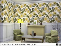 The Sims Resource: Vintage Spring Walls by Pinkfizzzzz • Sims 4 Downloads