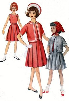 1950s Girls CUTEST Dress, Skirt, Short Jacket and Scarf Simplicity 4358 Vintage 50s Sewing Pattern Size 10 by sandritocat on Etsy