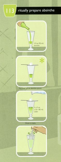 This infographic shows how to ritually prepare absinthe. Pour absinthe in a glass, put a sugar cube on a strainer place over the glass, dilute to tas Cocktail Drinks, Fun Drinks, Yummy Drinks, Alcoholic Drinks, Cocktails, Beverages, Absinthe Fairy, Bartender Recipes, Gin