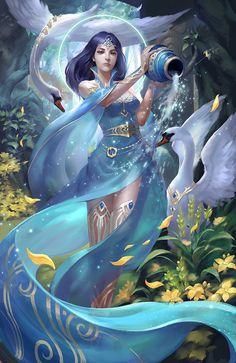 Aquarius the Water-bearer Aquarius Tattoo, Aquarius Woman, Zodiac Signs Aquarius, Aquarius Horoscope, Star Goddess, Goddess Art, Anime Zodiac, Zodiac Art, Zodiac Characters