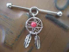 Indstrial Piercing Barbell Coral Red Beaded Dream Catcher Dreamcatcher Charm Dangle Ear Bar