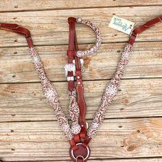 Floral Bone/Chestnut Leather One Ear Tack Set w/AB Crystal Rhinestone Conchos
