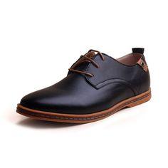Cheap New fashion 2015 uomo scarpe in pelle casual lace up marrone nero a  buon mercato 09a4b185ba4