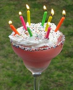"""Happy Birthday Colada: Cake vodka, marshmallow vodka, and strawberry rum. Light the candles, and """"Cheers!"""" Starting with my birthday, I believe this should be a tradition! Cocktails, Party Drinks, Cocktail Drinks, Fun Drinks, Yummy Drinks, Alcoholic Drinks, Yummy Food, Cocktail Recipes, Cocktail Ideas"""