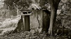 crumbling outhouse sits beneath a tree with broken pots lying ...