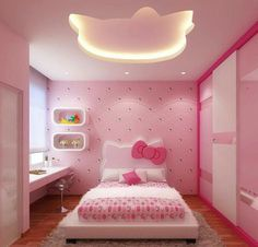 gorgeous 31 Excellent Hello Kitty Themed Bedroom Design Ideas That Looks So Cute Kids Bedroom Designs, Kids Bedroom Sets, Small Room Bedroom, Kids Room Design, Bedroom Themes, Bedroom Decor, Luxury Bedroom Design, Bedroom Bed Design, Interior Design