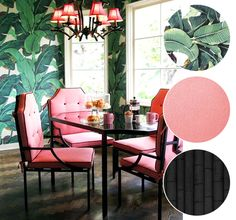 banana leaf print wallpaper + pink dining room chairs + black lacquered bamboo
