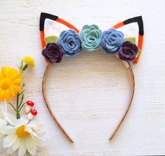 Fox Ear Headband   Felt Flower Accents