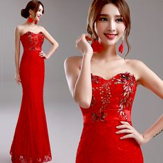 >> Click to Buy << 2016 new stock plus size women bridal gown wedding party slim red lace belt bling long Red mermaid Formal Evening dresses 5953 #Affiliate