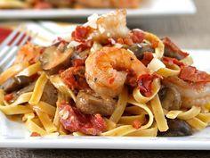 Fettuccine with Shrimp, Pancetta, Mushrooms