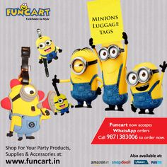 Luggage tags for all minion fans. Perfect for your school or travel bags. #LuggageTags
