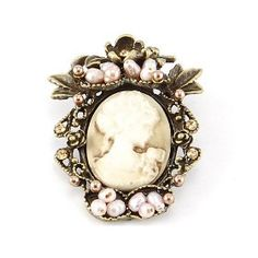 Victorian Inspired Princess Queen Profile Pink Bead Faux Pearl Cameo Pin Brooch $7.99