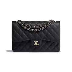 26812b2c592 Grained Calfskin   Gold-Tone Metal Black Large Classic Handbag
