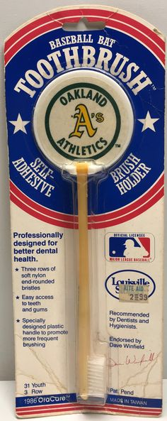 We always have the hottest Vintage Toys at The Angry Spider.  Now available: TAS038396 - 1986 ...  Check it out here: http://theangryspider.com/products/tas038396-1986-oracare-louisville-slugger-toothbrush-oakland-athletics?utm_campaign=social_autopilot&utm_source=pin&utm_medium=pin